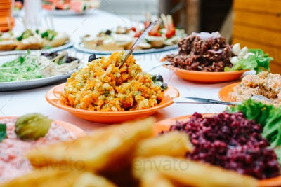 Snacks and other food at garden party