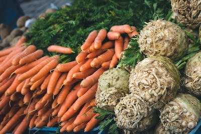 Carrots and celery at market
