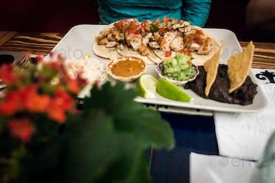 Chicken fajitas in Mexican restaurant