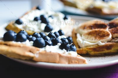 Blueberry and banana homemade waffles