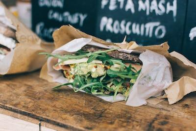 Take away vegetarian sandwich with guacamole