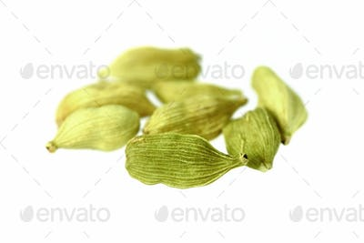 Dried cardamom seeds isolated on white background