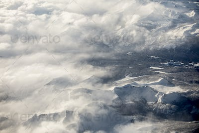 High aerial view of the Sierra Nevada Mountains of California du