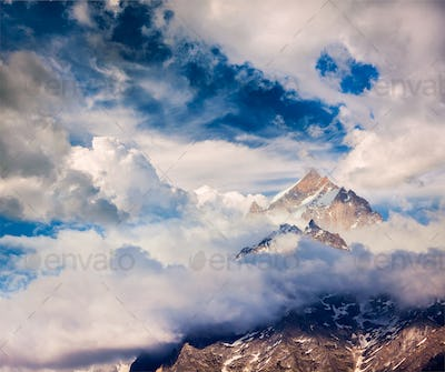 Snowcapped summit top of mountain in Himalayas