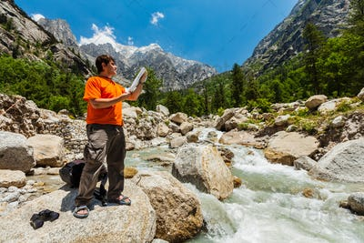 Hiker with map