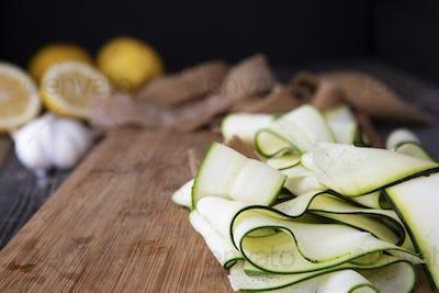 Zucchini Ribbons on Cutting Board