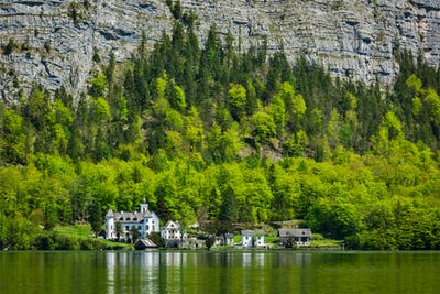 Castle at Hallstatter See mountain lake in Austria