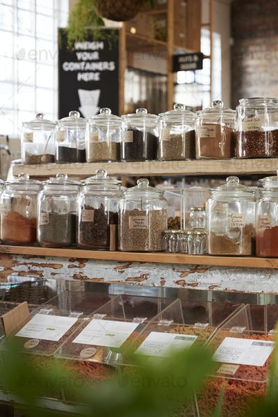 Display Of Spices In Sustainable Plastic Packaging Free Grocery Store