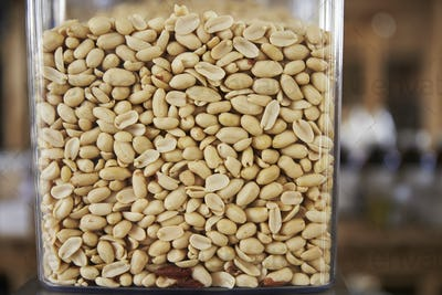 Dispensers For Peanuts In Sustainable Plastic Free Grocery Store