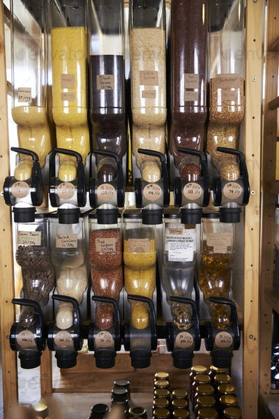 Dispensers For Cereals And Grains In Sustainable Plastic Free Grocery Store
