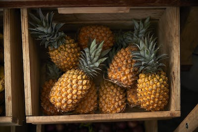 Display Of Pineapple In Sustainable Plastic Packaging Free Grocery Store