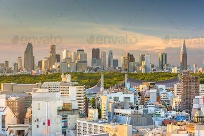 Tokyo, Japan city skyline over Shibuya Ward with the Shinjuku Wa