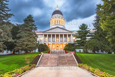 The Maine State House in Augusta, Maine, USA