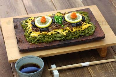 kawara soba, japanese local food,  fried green tea buckwheat noodles on roof tile