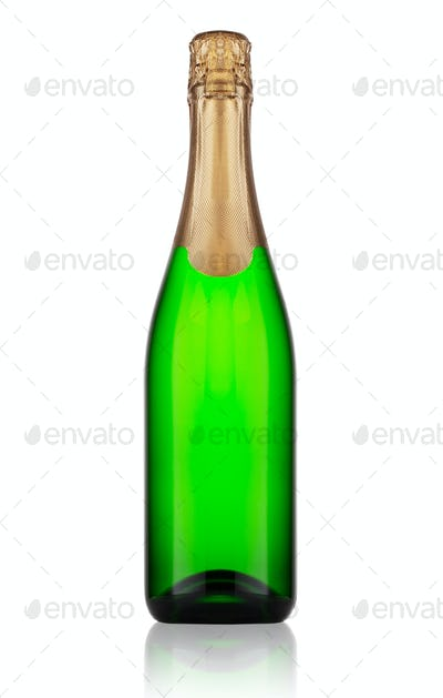 Ggreen bottle of champagne
