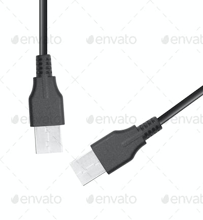 USB cables isolated on white