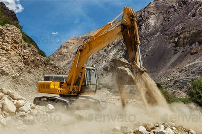 Road construction in Himalayas