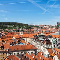 View of Stare Mesto (Old City) and and St. Vitus Cathedral