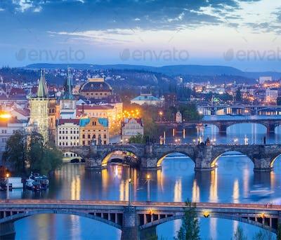 Panoramic view of Prague bridges over Vltava river