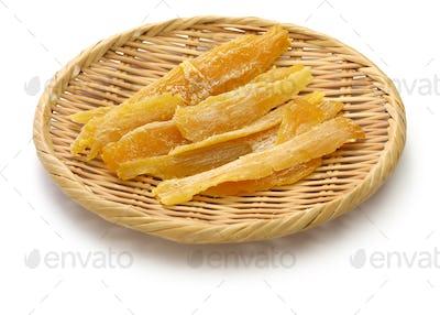 dried sweet potato, Hoshi-imo, Japanese traditional snack on bamboo basket