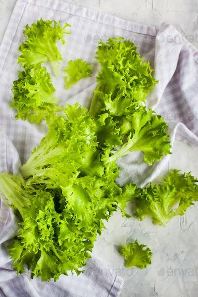 Fresh raw green frillice iceberg lettuce salad on table, top vie