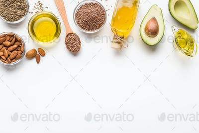 Alternative oils concept, food background