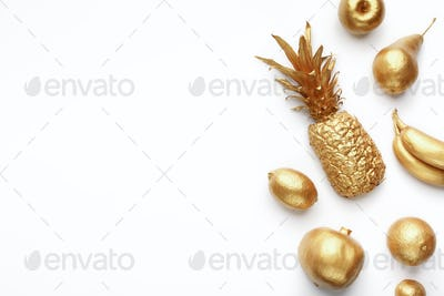 Golden fruits composition