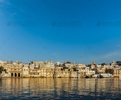 Udaipur houses and ghats on lake Pichola. Udaipur, Rajasthan, In