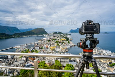 City of Alesund Norway Camera on a tripod on the observation dec