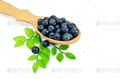 Blueberries in a spoon with a leaf