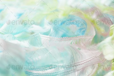 An amazing and beautiful macro image of pastel color clothes wit