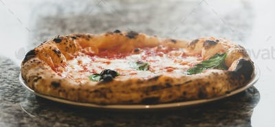 Close up of margherita pizza.