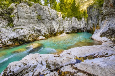 Turquoise colored Soca river