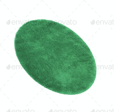 Green bath rug isolated on white
