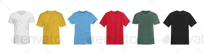various t-shirts isolated on white