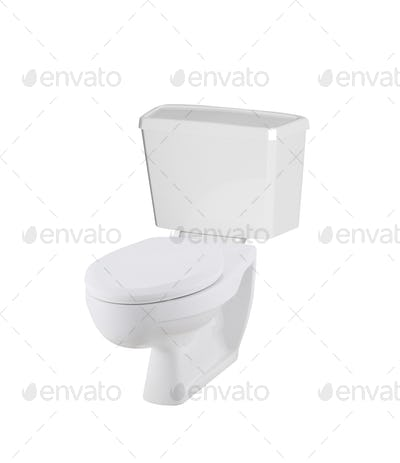 White toilet bowl isolated on white background