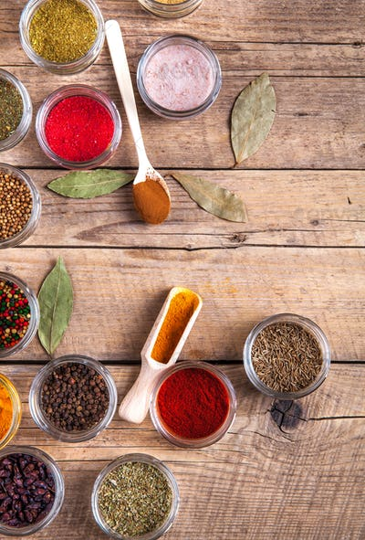 Set of Spices on wood background. Food