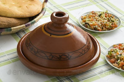 Traditional  Moroccan Tagine with salad and bread