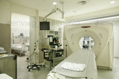 Computed axial tomography hospital room. Equipped oncology diagnosis area