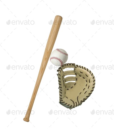 leather baseball glove isolated on white background