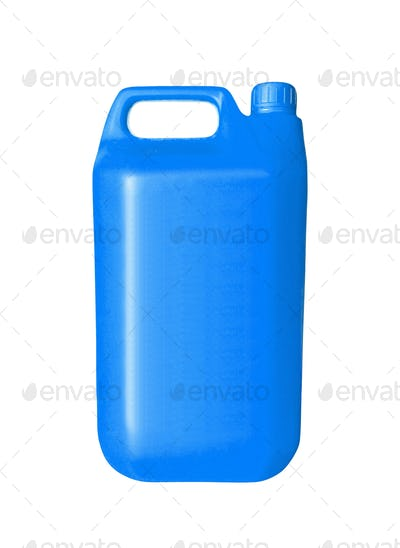 Blue Plastic Jerrycan On White Background