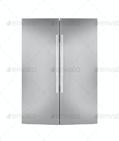 Two door refrigirator isolated on white background