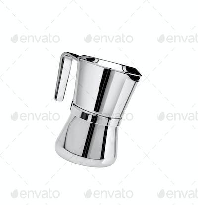 Metal tea pot isolated on white background