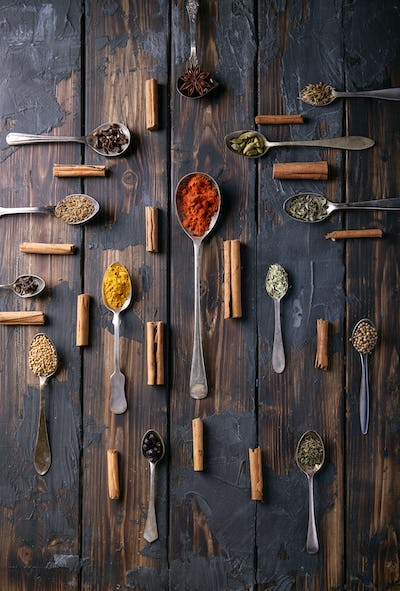 Selection of various spices and herbs