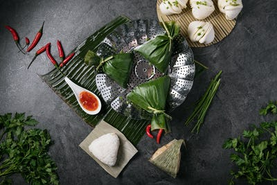 Chinese style dumplings with chives