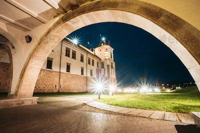 Mir, Belarus. Castle Complex Mir In Evening Night Illumination.