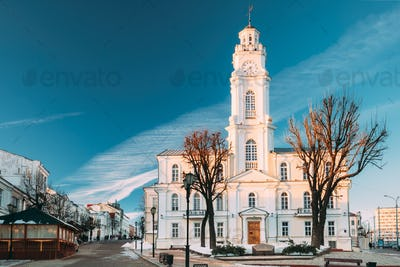 Vitebsk, Belarus. View Of Old Town Hall In Winter Sunny Day. Fam