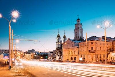 Vitebsk, Belarus. Traffic At Lenina Street, Holy Resurrection Ch