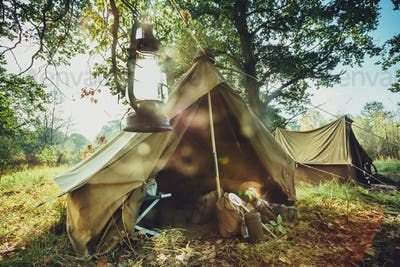 World War II German Wehrmacht Infantry Tent In Forest Camp. WWII
