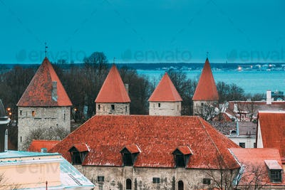 Tallinn, Estonia. Part Of Tallinn City Wall. Nun's Tower Nunnato